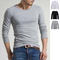 Fashion Men's Slim Fit Cotton Shirts Crew Neck Long Sleeve Casual T-Shirt