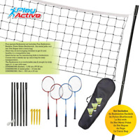 Professional Badminton Set 4 Player Racket Shuttlecock Poles Net Bag Garden Game