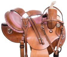 "Used Premium Pink Western Pleasure Trail Horse Leather Saddle Tack 14"""