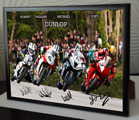 "Joey Robert William Michael Dunlop Unique Framed Canvas Signed ""Great Gift"""
