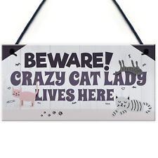 Funny Crazy Cat Lady Hanging Plaque Animal Lover Sign Cute Cats Home Door Gift