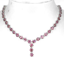 Sterling Silver 925 Genuine Natural Pink Rhodolite Floral Necklace 20.5 Inch