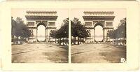 Parigi Arco Di Triomphe Da Stella Foto PL54L1n Stereo Vintage c1900