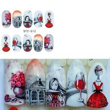 Nail Art Pegatinas Calcomanías de agua transfiere día de San Valentín Amor Rosas Cat (STZ512)