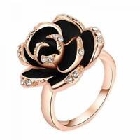 schmuck mode frauen crystal gold schwarz verstellbare rose blume.