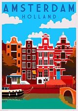 Laminated Amsterdam Vintage Travel A4 Poster Gloss Painting Print 250gsm