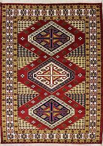 Rugstc 5x8 Caucasian Design Red Area Rug, Hand-Knotted,Geometric with Silk/Wool