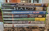 Lot of 7 Original Xbox Games Halo, Splinter Cell, AMF Bowling, Transworld Surf