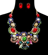 LUXE Statement Gold Multi Crystal Cocktail Necklace, Earrings Set Rocks Boutique