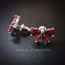 Rote Tropfen Zirkonia Ohrstecker Schleife 925 Silber rhodiniert 8,5 x 12,5 mm