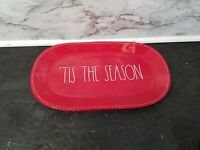 Rae Dunn Red with White Stitching 'TIS THE SEASON Oval Platter LL Christmas NEW