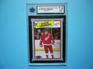 1988/89 O-PEE-CHEE NHL HOCKEY BOX BOTTOM CARD #L STEVE YZERMAN KSA 7.5 NM+ OPC