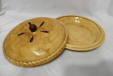 Ceramic Pie Dish Keeper Plate Cherry Fruit w Lid Handamde YAGER 1980 Tan Red