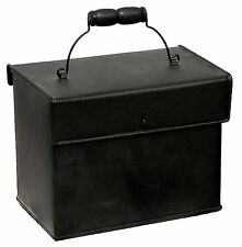 """Black Metal Recipe Box Container with Handle Home Kitchen 7"""" x 6"""" NEW KK5474B"""