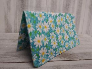 CHECKBOOK COVER Wallet Organizer Teal DAISY Fabric Floral Print USA HandMade