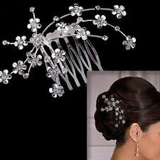 New Diamante Rhinestone Crystal Silver Clip Headband Tiara Prom Wedding Bridal