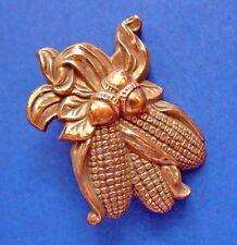 BUY1&GET1@50%~Hallmark PIN Thanksgiving CORN on COB COPPER Vtg Holiday Brooch