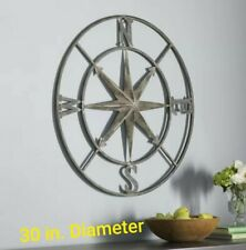"New Listing30"" Round Metal Compass Wall Decor"