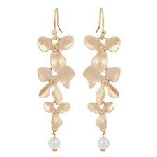 ! NiX 1293 Gold Orchid Flower Danglers Pearl Drop Earring Women Girl Earrings