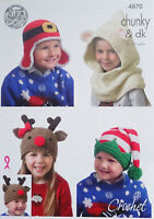 CROCHET PATTERN Boys/Girls Xmas Hats Santa Elf Rudolph Polar Bear King Cole 4870