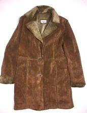 Bagatelle Womens L Long Suede Coat Leather Jacket Faux Fur Trim Lined Designer