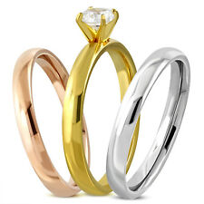 Stainless Steel Tricolor 3-piece Stackable Wave Band Ring Set