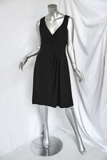 GIORGIO ARMANI COLLEZIONI Black Sleeveless A-Line Dress Pleated-Accents LBD 8