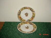 "2-PC ONEIDA ""ERIN'S PAISLEY"" 7"" SALAD PLATES/FLORAL SCROLL/GLD-RED-PUR/FREE SHIP"