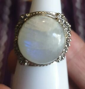 Gypsy Moonstone Gemstone Indian Hippie Ring sixe 9
