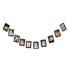 10x Black Hanging Paper Photo Frame Album Picture Display Clips Hemp Rope