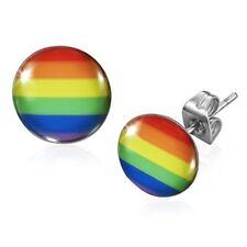 Rainbow Gay Lesbian Pride Earrings - Stainless Steel - 10 mm (155)