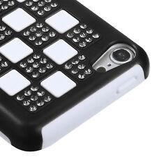 Apple iPod Touch 5 Hybrid Rubber Hard Case Phone Cover Black White Checker Bling