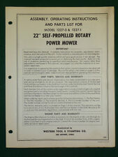 """Western Tool 22"""" Rotary Mower Assembly, Operating, Parts Manual 1227-0 & 1227-1"""