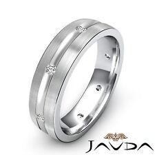 Diamond Mens Eternity Wedding Solid Band 14k White Gold Matt Brushed Ring 0.16Ct