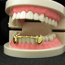 Custom Fit 14k Gold Plated Hip Hop Teeth Fang Grillz Caps Lower Bottom Grill Set
