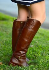 Tory Burch 'Marlene' leather knee high riding boot Brown Logo Tall
