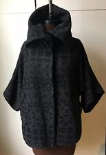 MISS SELFRIDGE black wool coat lined jacket 8 kimono cocoon buttons 3/4 sleeves