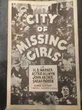 City of Missing Girls 1941 RARE PRESS KIT Elmer Clifton