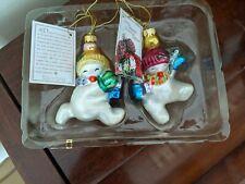 Fitz & Floyd Christmas Ornaments Glass New Friendly Folks (Snowman) 2 Sets of 2