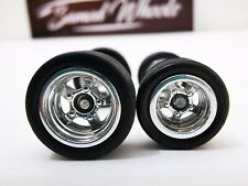 10 set 10-12mm CHROME Samed Wheels 5 bolt 1:64 rubber wheels #32