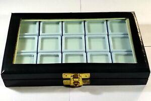 GEMSTONE Diamond Display Storage leather box Jewelry15 white plastic boxes