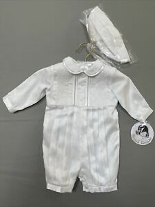Sarah Louise Boys 3 Months Christening/Baptism Outfit White With Hat