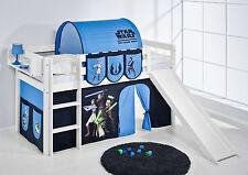 Juego de cama alta JELLE 190x90 blanco con Tobogán lilokids Star Wars