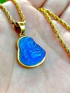 Jade Smiling Laughing Blue Buddha Good Fortune Rope Chain Necklace Gold Small