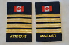 Canadian Fire Assistant 3 Three 1/2 Bars Gold Shoulder Slip Ons Pair