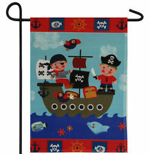 "PIRATE KIDS CHILDREN SHIP PIRATES GARDEN BANNER/FLAG 12""X18"" SLEEVED POLY"