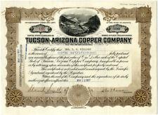 1917 Tucson Arizona Copper Company Stock Certificate