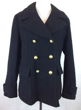 NWOT NEW J Crew Sz 16 Stadium Cloth Majesty Black Wool Pea Coat
