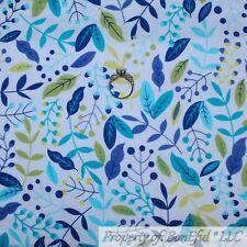 BonEful FABRIC FQ Cotton Quilt White Blue Flower Green Leaf Garden Cottage Print