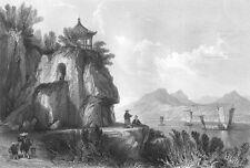 China, GROTTO LUIS DE CAMOES PARK GARDENS CAVE MACAU ~ 1842 Art Print Engraving